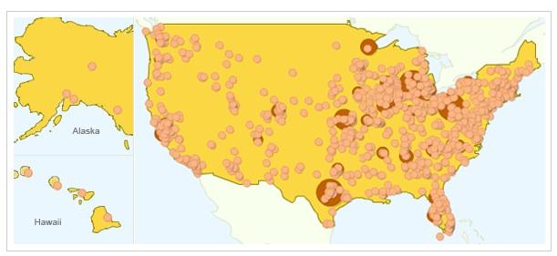 Google RFI Fiber map of the USA