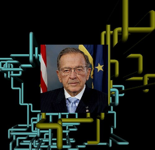 Ted Stevens ruling the internet from his electronic tube throne