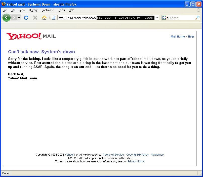 Yahoo's Mail Server banner - reboot me!